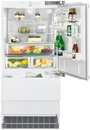 36″ Bottom Freezer Refrigerator with 80″ Height Door Panels and Tubular Handle in Stainless