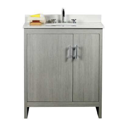 808130-30 -GP-WEO 31″ Single Vanity In Gray Pine Finish Top With White Quartz And Oval