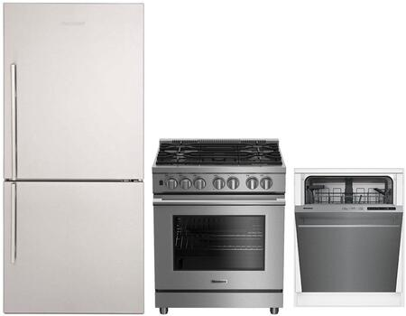 """3-Piece Kitchen Appliances Package with BRFB1812SSN 30"""" Bottom Freezer Refrigerator BGR30522SS 30"""" Slide-in Gas Range and DWT51600SS 24"""" Built In"""