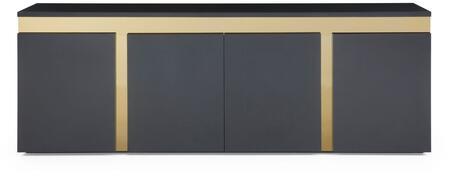 Sumo Collection SB1658-BLK 94″ Buffet with 4 Doors  1 Glasss Shelf  Polished Gold Stainless Steel Accent and High Gloss Lacquer Wood Construction in