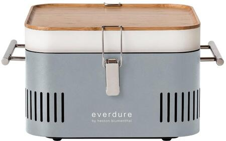 Everdure HBCUBESUS 17  CUBE Portable Charcoal Grill with 115 sq. in. Cooking Area  Cool to the Touch Chrome Handles  and Integrated Storage Tray   Bamboo