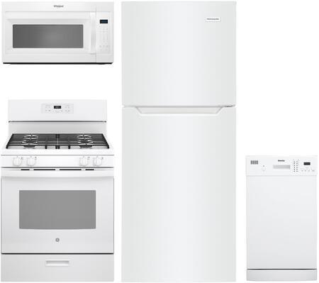 "4 Piece Kitchen Appliances Package with Frigidaire FFET1022UW 24"" Freestanding Counter Depth Top Freezer Refrigerator GE JGBS61DPWW 30"" Freestanding"