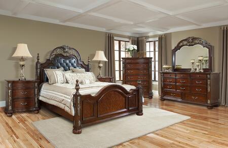 Cosmos Furniture Rosanna ROSANNAKINGBEDSET Bedroom Set Brown, Main Image