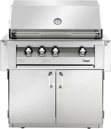 VBQ36G-L 36″ Gold Freestanding Grill With 924 Sq. Inches Total Grilling Area  3 18SR Stainless Steel Burners  15 000 BTU Infrared Rotisserie Burner