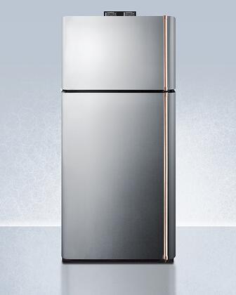 Summit  BKRF18SSCPLHD Top Freezer Refrigerator Stainless Steel, BKRF18SSCPLHD Copper Handle Top Freezer Refrigerator