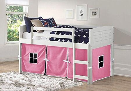 795-ATW_750C-TP 79″ Twin Louver with Pink Colored Tent  Built in Ladder  Panel Headboard and Footboard in