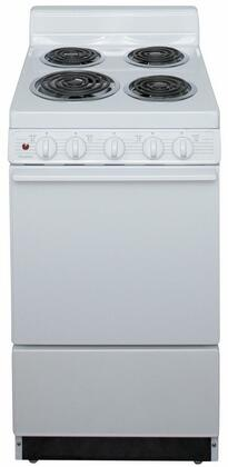 Premier EAK102OP Freestanding Electric Range White, A Front View of the Range