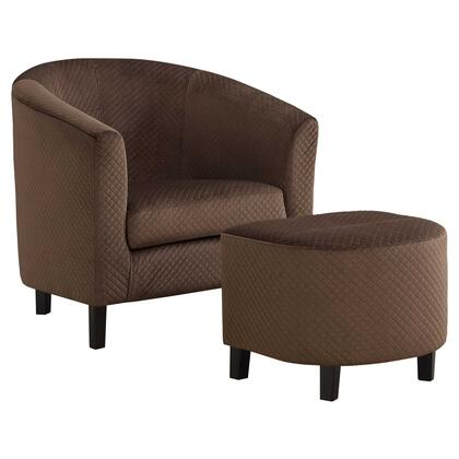 333680 2 Piece Accent Chair Set with High Grade Foam Filled Cushion  Sloped Armrest  Solid Wood Construction and Polyester Fabric Upholstery in Brown