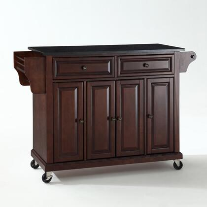 Full Size Kitchen Collection KF30004EMA Full Size Granite Top Kitchen Cart in Mahogany