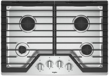 "Whirlpool WCG55US0HS 30"" Gas Cooktop with EZ-2-Lift Hinged Cast-Iron Grates"