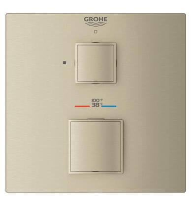 Grohtherm Cube 24157EN0 Single Function 2-Handle Thermostatic Trim  in Brushed