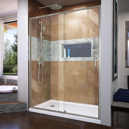 DL-6222L-04 Flex 30″ D x 60″ W x 74 3/4″ H Semi-Frameless Shower Door in Brushed Nickel with Left Drain White Base