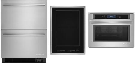 """3-Piece Kitchen Appliances Package with JUD24FCERS 24"""" Built In Counter Depth Drawer Refrigerator JBS7524BS 24"""" Electric Wall Oven and JIC4715GS 15"""""""