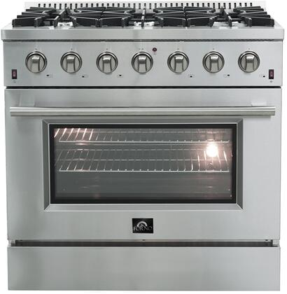 FFSGS6244-36 36″ Stainless Steel Natural Gas Range with 5.36 cu. ft. Capacity  6 Italian Defendi Burners  Convection Fan and Cast Iron
