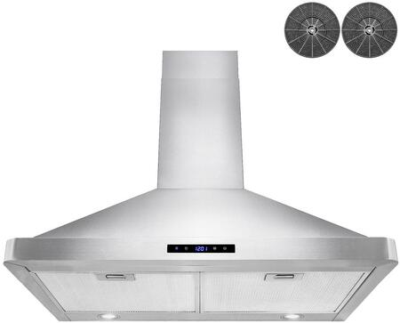RH0440 30″ Wall Mounted Range Hood with 343 CFM  Touch Panel Control  Aluminum Grease Filters  and LED Lights in Stainless