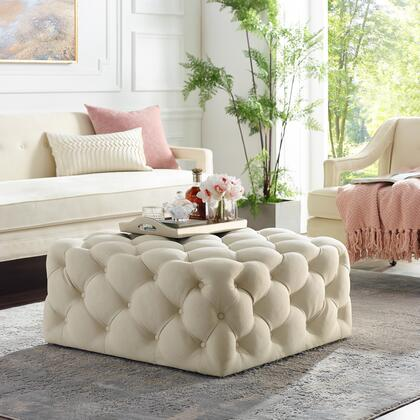 Ramon Collection ON93-03CW-AC Ottoman with Tufted Allover  Castered Legs and Linen Fabric Upholstery in Cream White