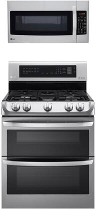 """2 Piece Kitchen Appliances Package with LDG4313ST 30"""" Gas Range and LMVH1711ST 30"""" Over the Range Microwave in Stainless"""