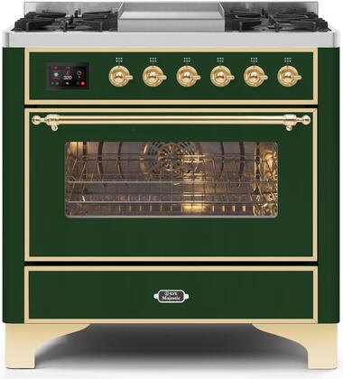 UM09FDNS3EGG 36″ Majestic II Series Dual Fuel Natural Gas Range with 6 Burners and Griddle  3.5 cu. ft. Oven Capacity  TFT Oven Control Display