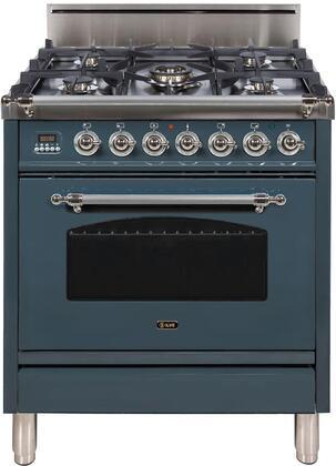 Ilve Nostalgie UPN76DVGGGUX Freestanding Gas Range Blue Grey, Blue Grey Gas Range