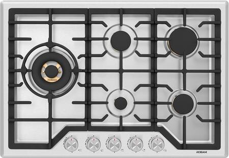 G513 30″ Gas Cooktop Stove with 5 Italian-Made  Pure Copper Core Brass Burners  Failure System  Matte Cast Iron Grates  Wok Grate  in Stainless
