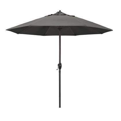 Casa Collection ATA908117-54048 9′ Patio Umbrella With Bronze Aluminum Pole Aluminum Ribs Auto Tilt Crank Lift With Sunbrella 1A Charcoal