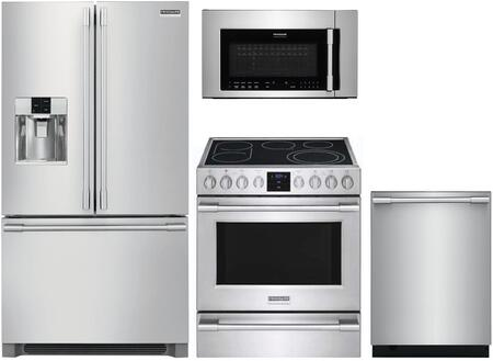 4 Piece Kitchen Appliances Package with FPBC2278UF 36″ French Door Refrigerator  FPEH3077RF 30″ Electric Range  FPID2498SF 24″ Built In Fully
