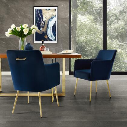Perogo Collection DC91-02NY2-AC Set of 2 Dining Chairs with High Density Foam  Scooped Backrest and Velvet Upholstery in Navy