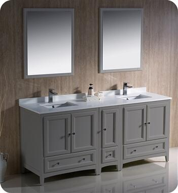 Oxford Collection FVN20-301230GR 71″ Grey Traditional Double Sink Bathroom