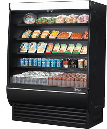 Turbo Air TOM60DXBSPAN Display and Merchandising Refrigerator Black, TOM60DXBSPAN Angled View