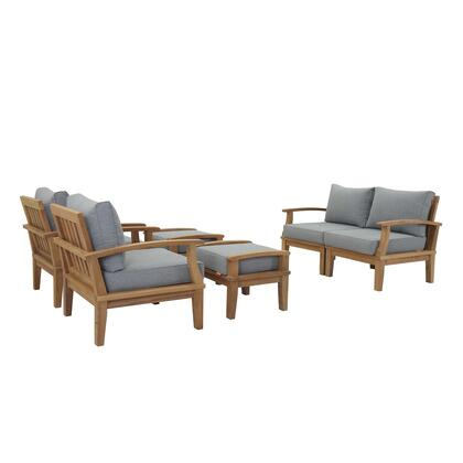 Marina Collection EEI-1597-NAT-GRY-SET 6 Piece Outdoor Patio Set with Water & UV Resistant Cushions  Solid Teak Wood Construction and Machine