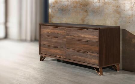 Venice Collection VENICE-DRS-OEM-53 61″ Dresser with 6 Soft Closing Drawers and Metal Handles in Oak Elm Matt