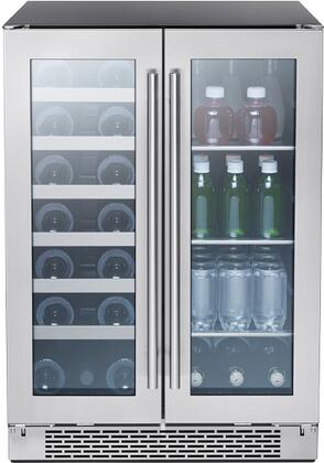 PRWB24C32BG 24″ Presrv Dual Zone French Door Beverage and Wine Cooler with 5.15 cu. ft. or 21 Bottle and 64 Can Capacity  9 Shelves Total  Electronic