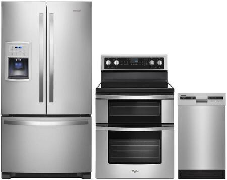 3 Piece Kitchen Appliances Package with WRF550CDHZ 36″ French Door Refrigerator  WGE745C0FS 30″ Electric Range and WDF518SAHM 18″ Built In Full