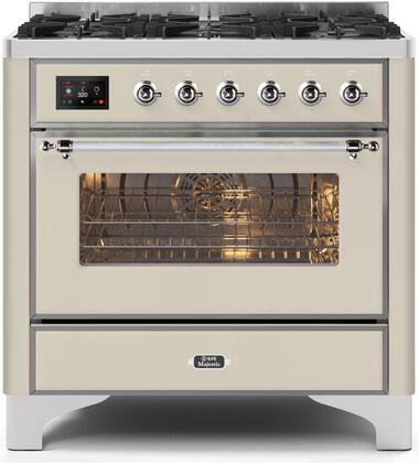 UM096DNS3AWC 36″ Majestic II Series Dual Fuel Natural Gas Range with 6 Burners  3.5 cu. ft. Oven Capacity  TFT Oven Control Display  Chrome Trim  in