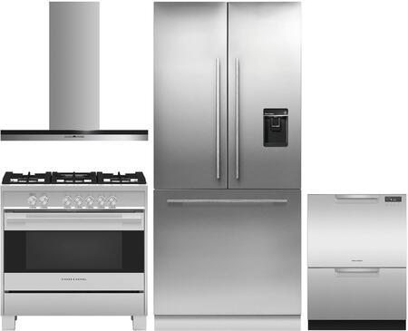 4 Piece Kitchen Appliances Package with RS36A80U1N 36″ French Door Refrigerator  OR36SDG4X1 36″ Gas Range  HC36DTXB2 36″ Wall Mount Convertible Hood