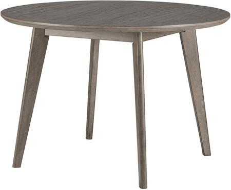 Alden Bay Collection 45″ round wood dining table with a wire brushed top and Tapered Legs in Weathered Gray