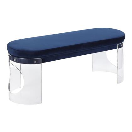Clarity Collection BC-CLARITY2VBU Bench with Plush Velvet Upholstered Seat  Glam/Contemporary Style and Contoured Acrylic Base in Navy Blue