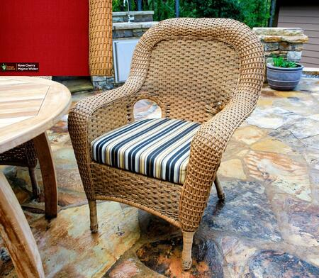 Sea Pines Collection LEX-DC-M-RAVEC Dining Chair in Mojave Wicker and Rave Cherry Fabric