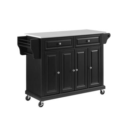Full Size Kitchen Collection KF30005EBK Full Size Granite Top Kitchen Cart in Black