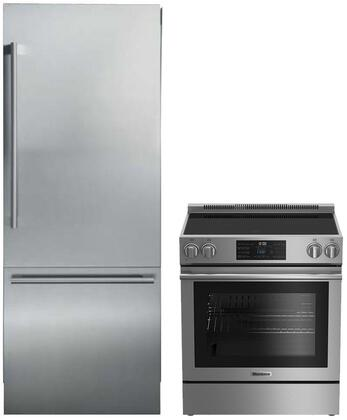 """2 Piece Kitchen Appliances Package With BERU30420SS 30"""" Electric Freestanding Range and BRFB1920SS 30"""" Bottom Freezer Refrigerator in Stainless"""