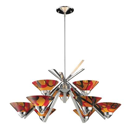 1476/6+3JAS Refraction 6+3-Light Chandelier in Polished Chrome with JAS
