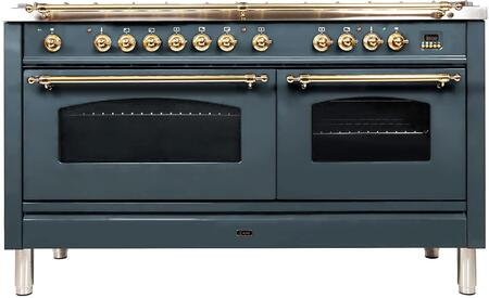 Ilve Nostalgie UPN150FDMPGU Freestanding Dual Fuel Range Blue Grey, Blue Grey Dual Fuel Range