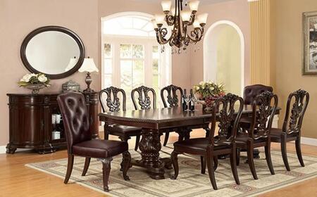 Furniture of America Bellagio CM3319T8SCSVMR Dining Room Set Brown, main image