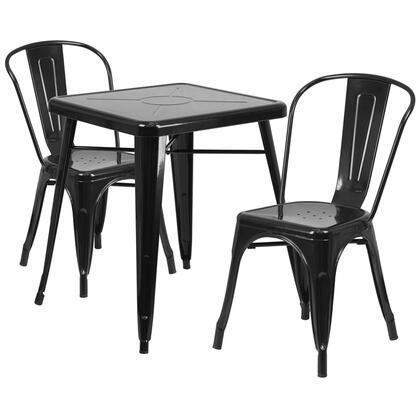 Flash Furniture CH-31330 CH31330230BKGG Outdoor Patio Set Black, CH31330230BKGG set