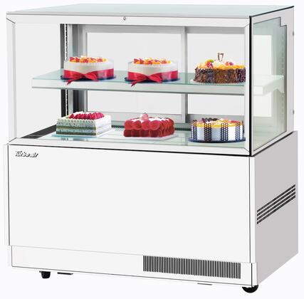 Turbo Air TBP6046FNW Display and Merchandising Refrigerator White, TBP6046FNW Angled View