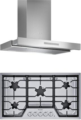 2 Piece Kitchen Appliances Package with SGSX365TS 36″ Gas Cooktop and HDDB36WS 36″ Wall Mount Convertible Hood in Stainless