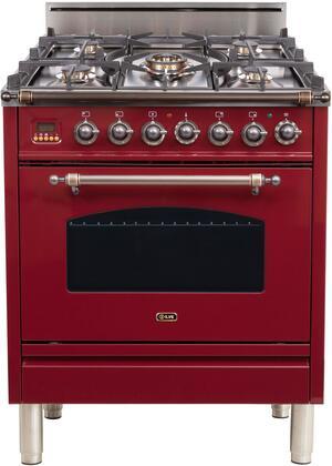 Ilve Nostalgie UPN76DVGGRBY Freestanding Gas Range Red, UPN76DVGGRBY Gas Range