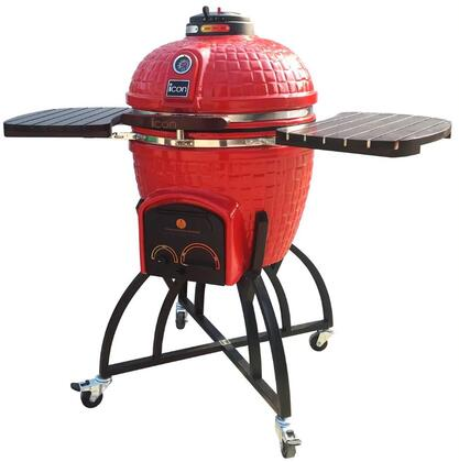 CG401RED 52″ 400 Series Kamado Grill on Oversized Cart with 604 sq. in. Grilling Area  Electric Starter Port  Color-Coded HeatZone Controls and