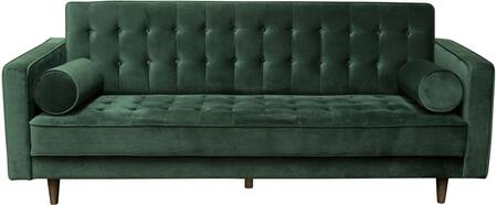 Juniper Collection JUNIPER-SO-GN 86″ Sofa with Velvet Upholstery  Button Tufting  Piped Stitching  Tapered Legs and Contemporary Style in Hunter