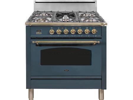 Ilve Nostalgie UPN90FDVGGGU Freestanding Gas Range Blue, UPN90FDVGGBG